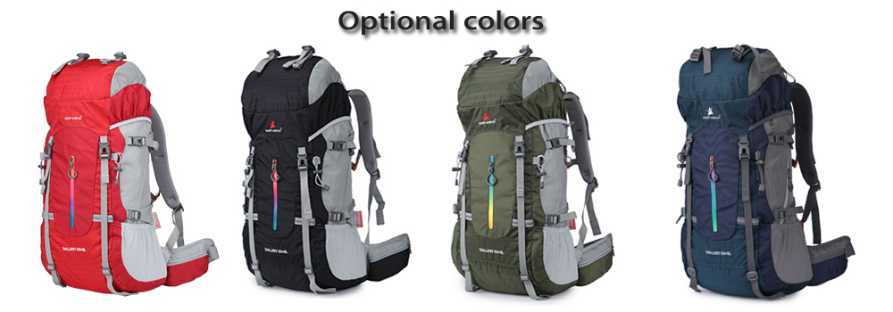 KEEPAHEAD 15082 Breathable Nylon 55L Mountaineering Backpack Bag with Fixed Belt