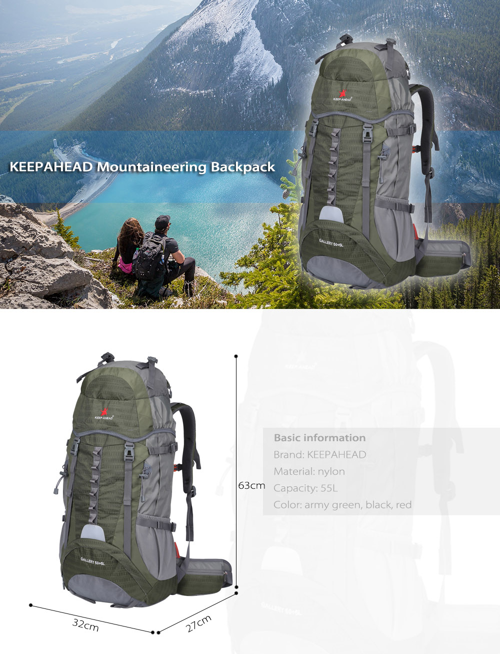 KEEPAHEAD 15080 Breathable Nylon 55L Mountaineering Backpack Bag with Fixed Belt