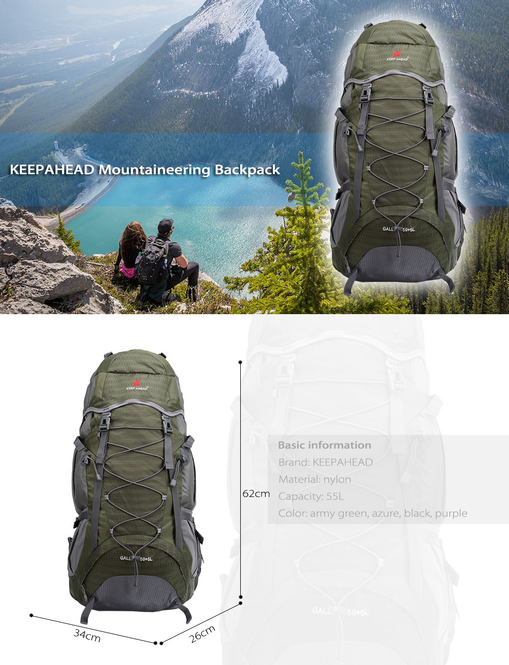 KEEPAHEAD 15081 Breathable Nylon 55L Mountaineering Backpack Bag with Fixed Belt