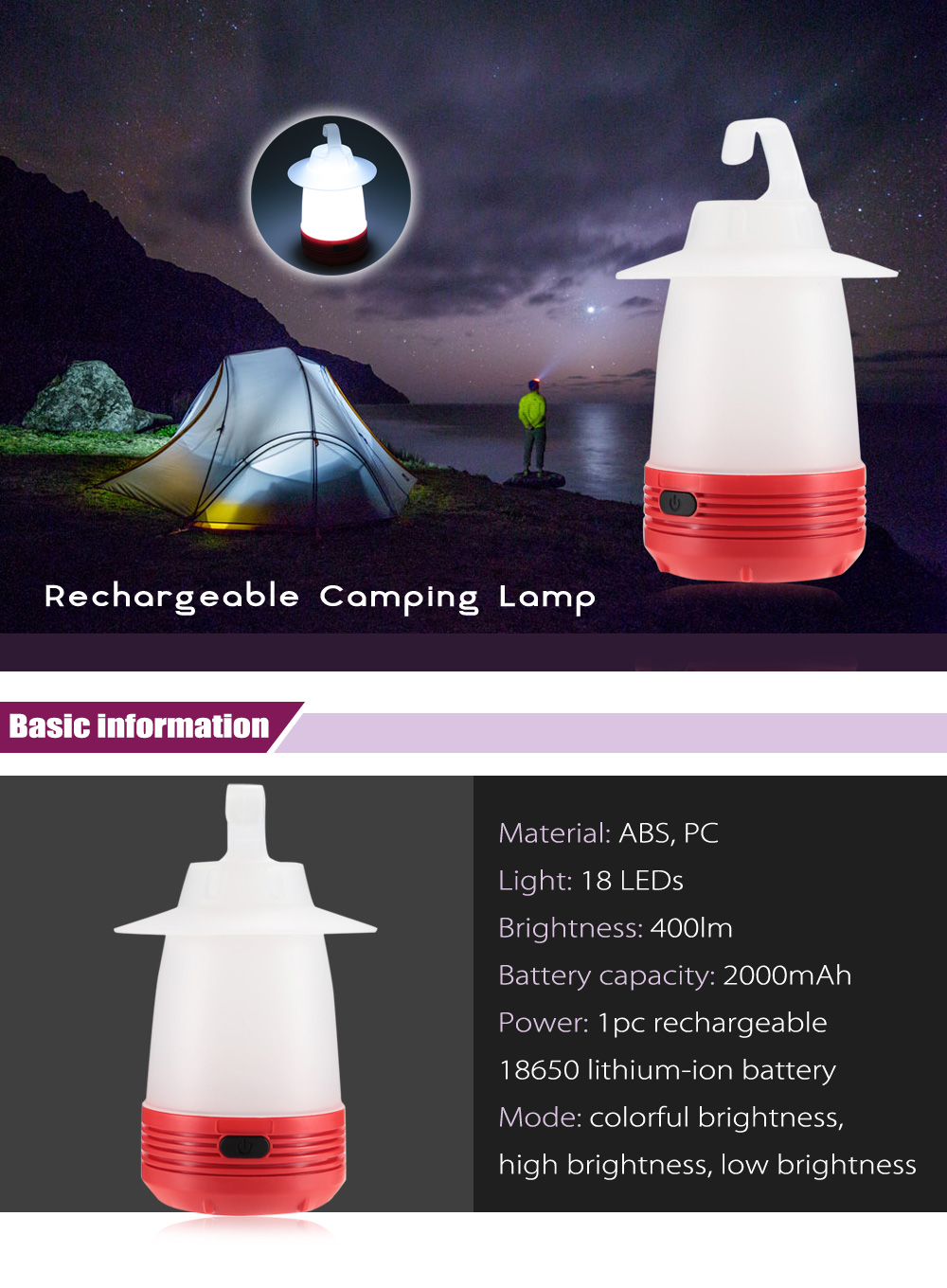 Hanging Rechargeable Camping Lamp Tent Lantern Emergency Light with 18 LEDs