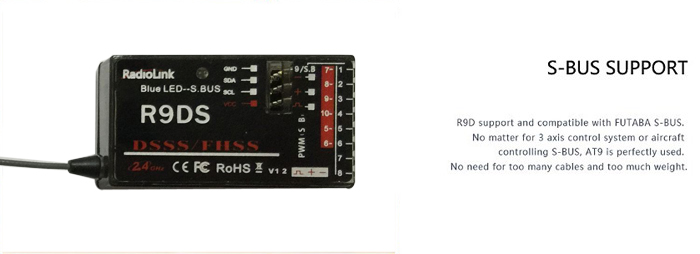 Radiolink - R9DS 2.4GHz 9CH Receiver for AT9 AT10 Transmitter