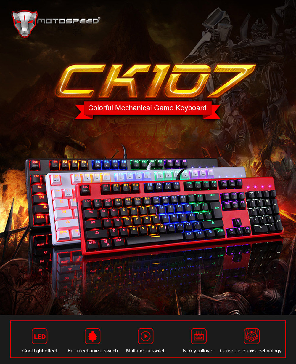 Motospeed CK107 Mechanical Keyboard with LED Backlit