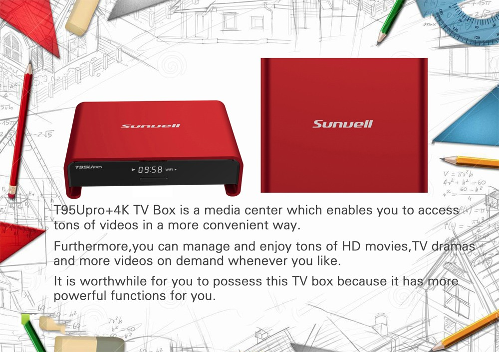 Sunvell T95U - PRO Smart Box S912 with Android 6.0 OS Octa Core Dual Band WiFi Mini PC