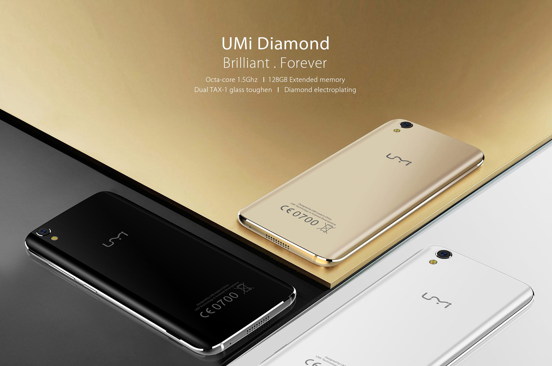 UMi Diamond 4G Smartphone 5.0 inch 2.5D Arc Screen Android 6.0 MTK6753 Octa Core 1.5GHz 3GB RAM 16GB ROM Dual Cameras Gravity Sensor