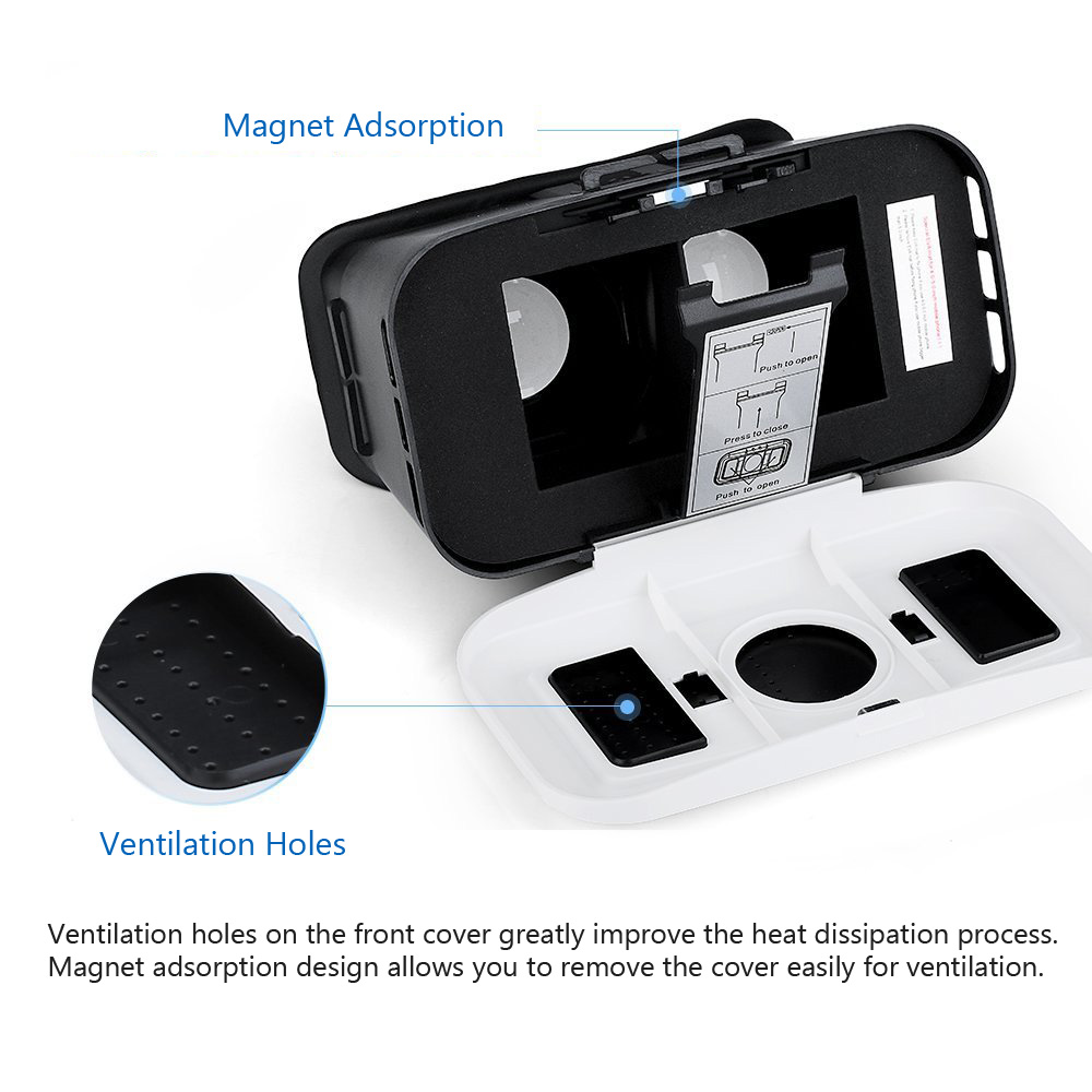 TURBOT Virtual Reality 3D Glasses Compatible with 4.0 - 6.0 inch Smart Phones
