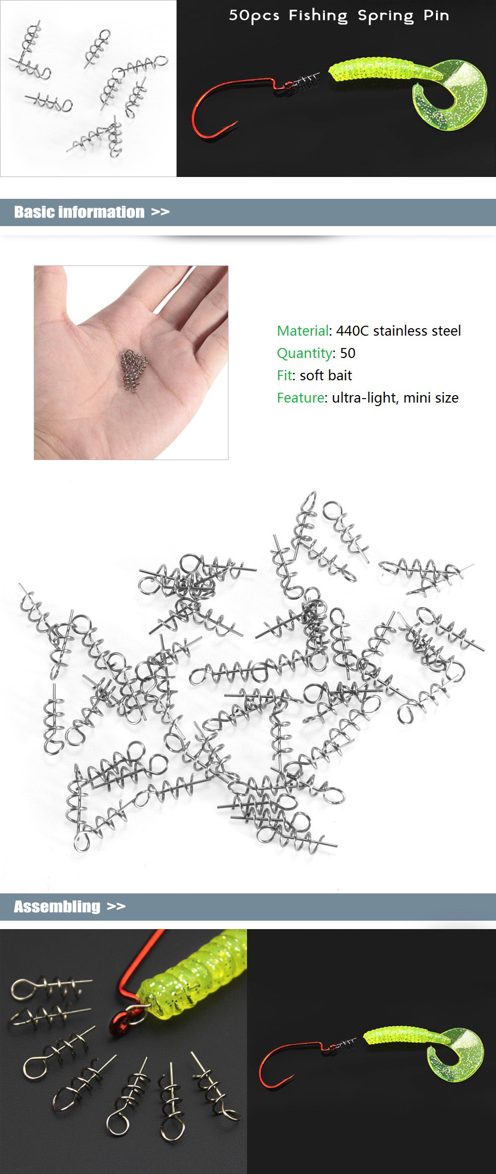 50pcs 440C Stainless Steel Fishing Spring Pin for Soft Bait