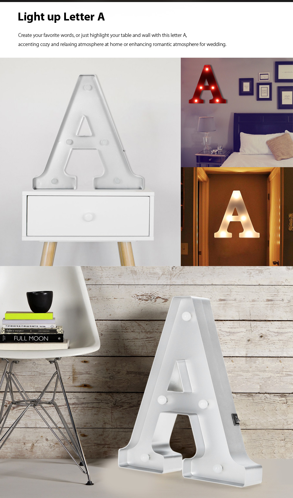 BRELONG Modern LED Marquee Letter Light Wall Table Decoration
