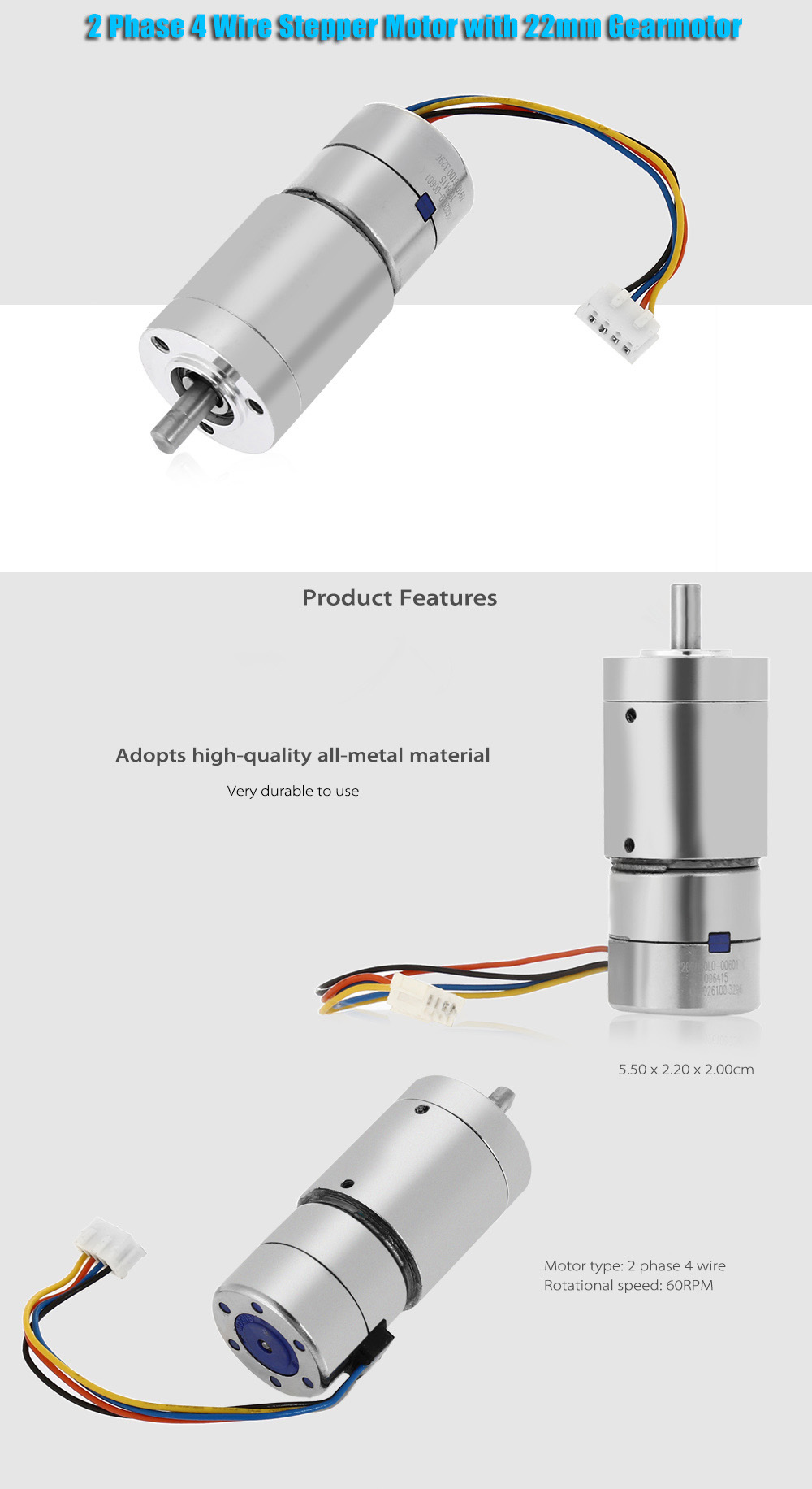 2 Phase 4 Wire Stepper Motor with 22mm All-metal Gearmotor Planetary Reducer