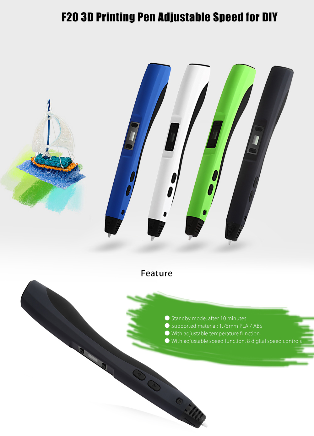 F20 Intelligent 3D Printing Pen LED Screen with Holder