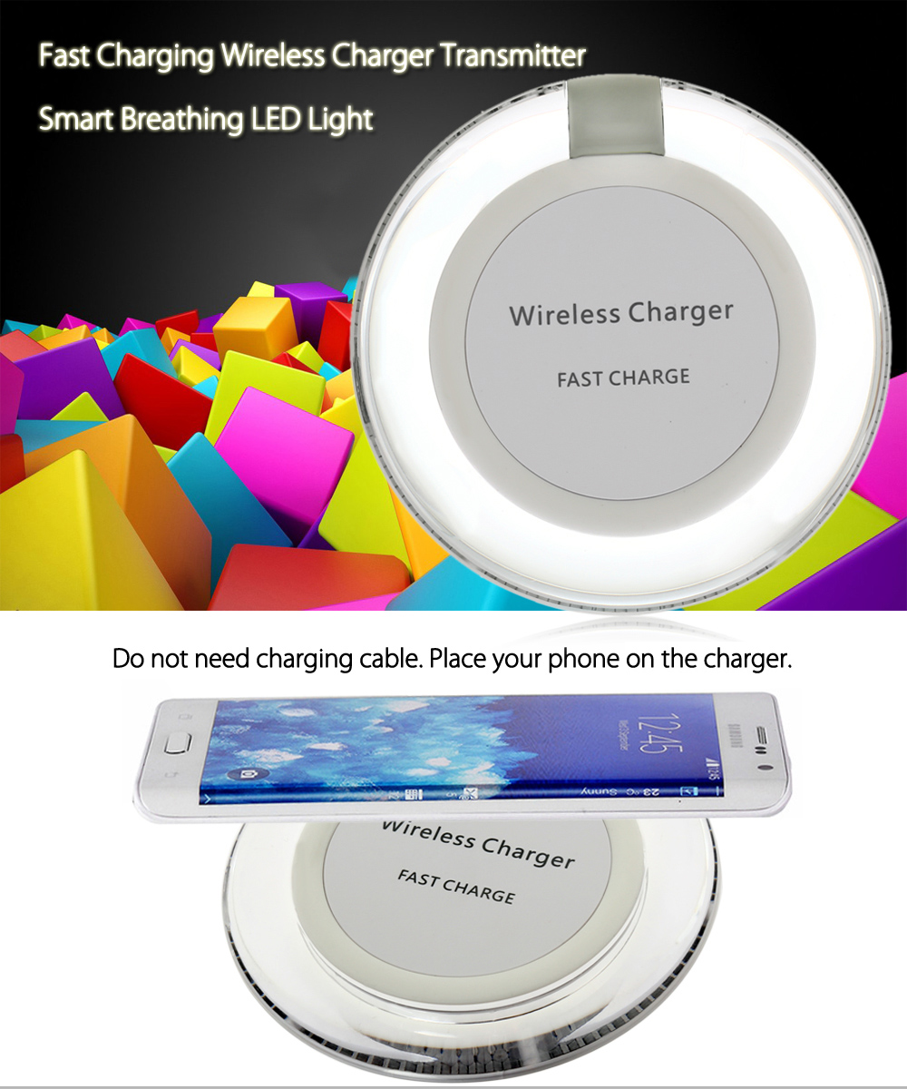 W3 Qi Wireless Charger Transmitter Fast Charge Round Pad Launcher LED Light