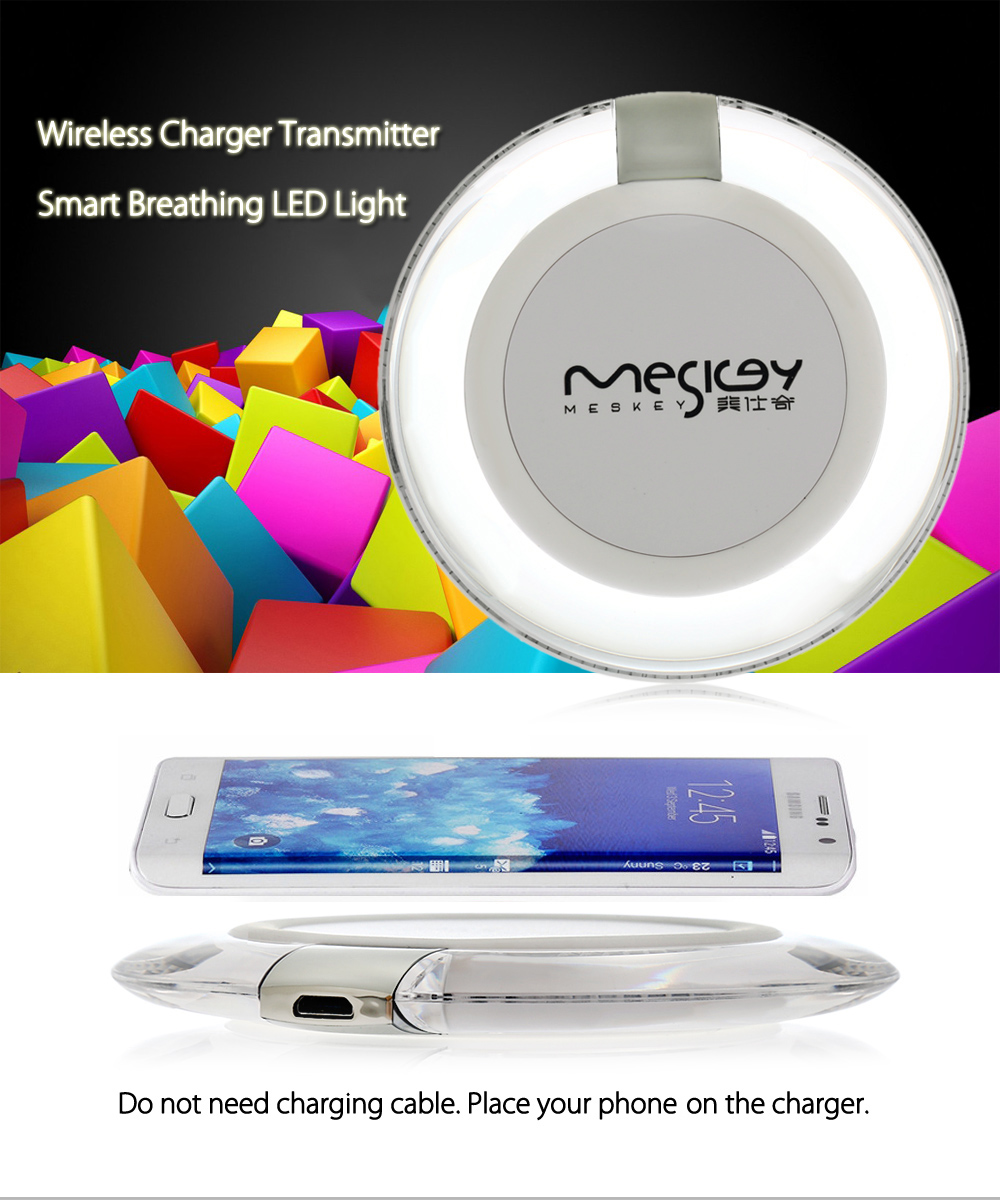 MESKEY MS - W3 Qi Wireless Charger Transmitter Round Pad Launcher LED Light