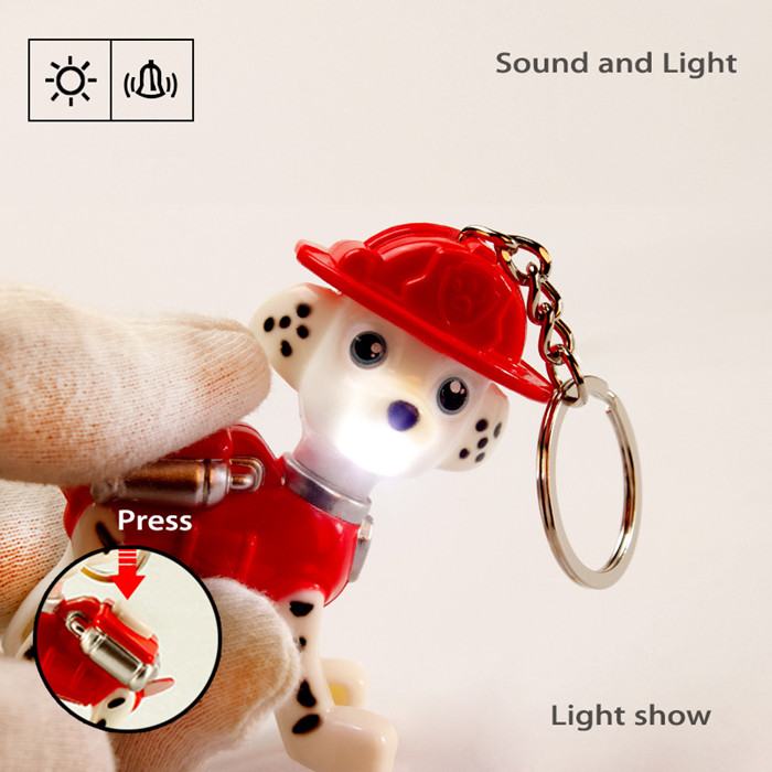 Animation Dog Style Key Chain Hanging Pendant ABS Voice LED Light Control Decoration - 6pcs / set