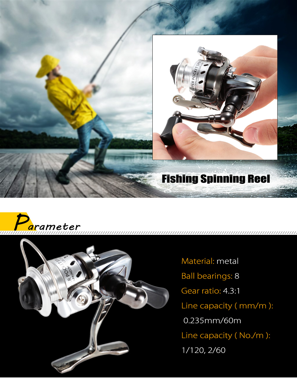 Mini Metal Fishing Spinning Reel with Foldable Arm
