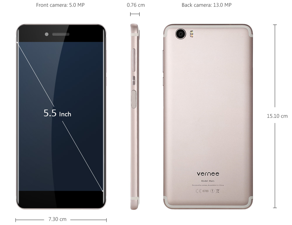Vernee Mars Android 6.0 5.5 inch 4G Phablet Helio P10 Octa Core 2.0GHz 4GB RAM 32GB ROM 13.0MP Rear Camera Fingerprint Scanner Type-C Corning Gorilla Glass 3 Screen