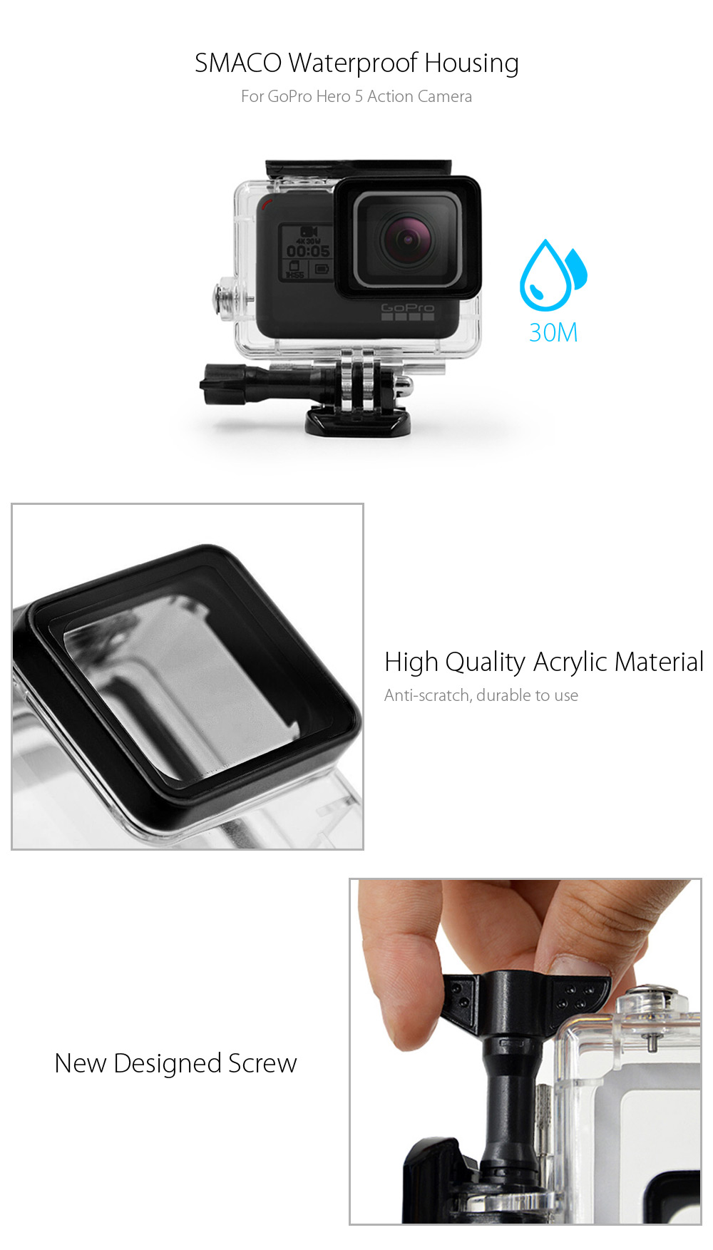 SMACO 30M Waterproof Housing for GoPro Hero 5 Action Camera Acrylic Material