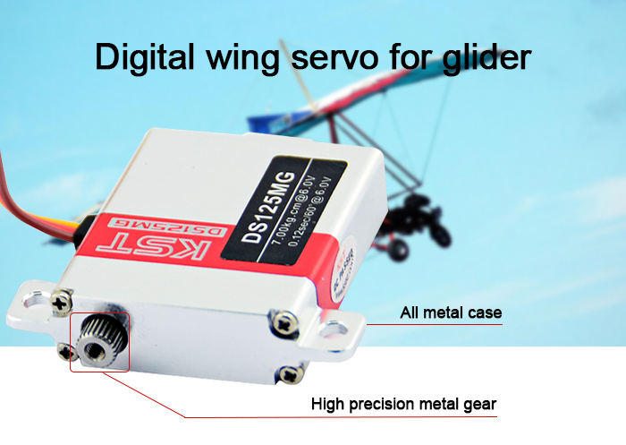 KST DS125MG 6 - 7KG Wing Servo Accessory for Glider Fixed-wing Aircraft DIY