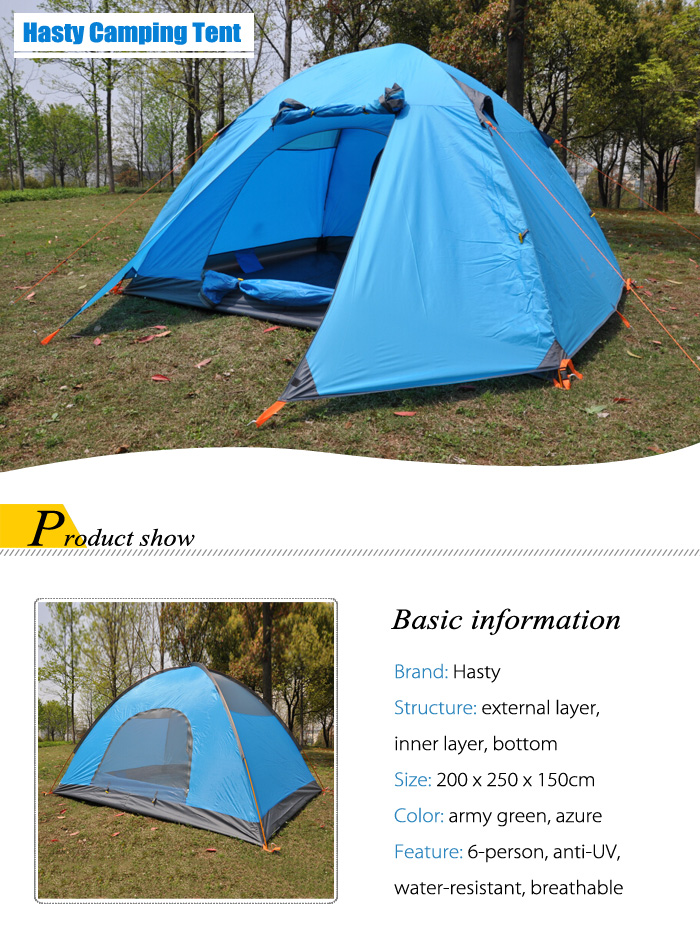Hasky JK - 118 Water-resistant Polyester 6-person Camping Tent with Thickened PU-coated Layer