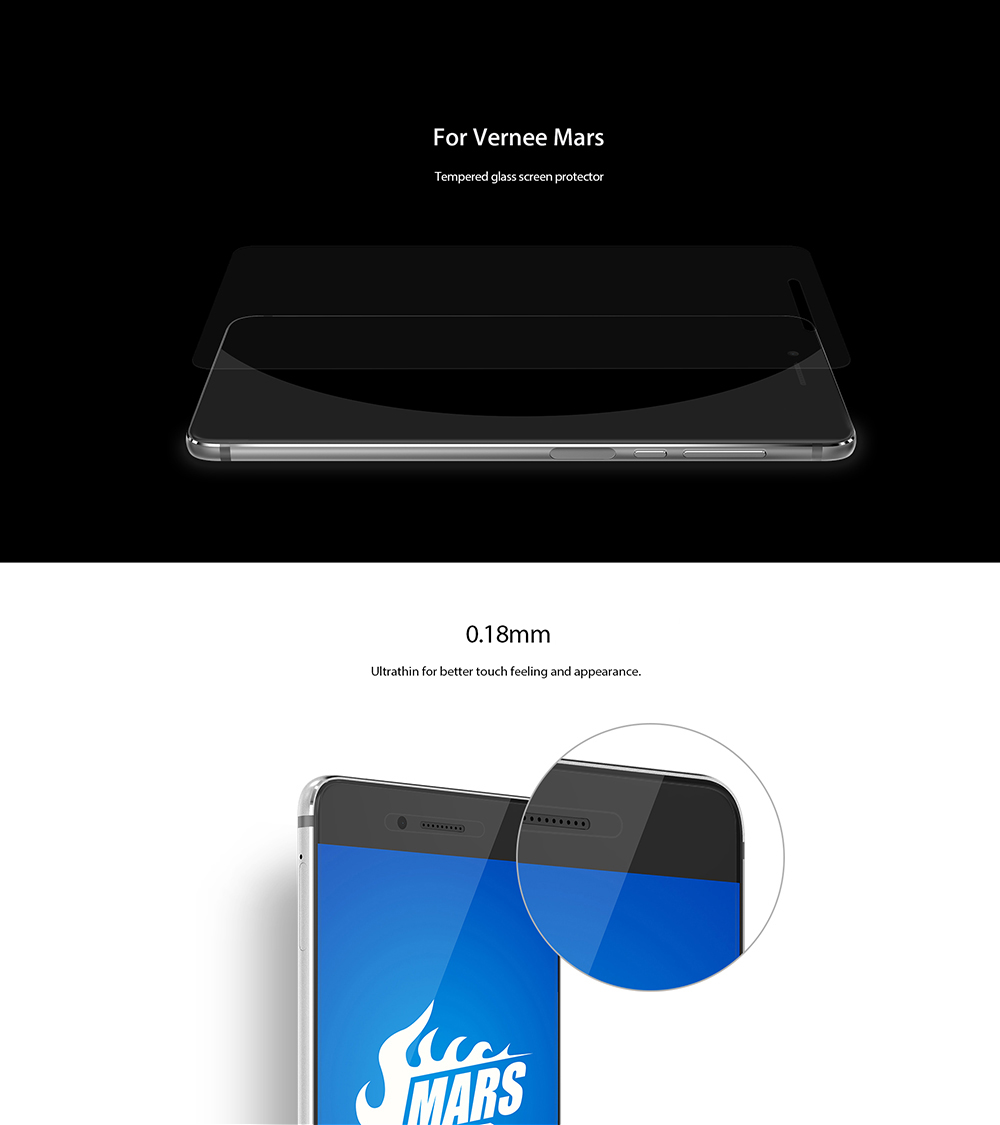 Original Vernee Tempered Glass Screen Protective Film for Mars 0.18mm 2.5D 8H Explosion-proof Blue Light Cut Protector