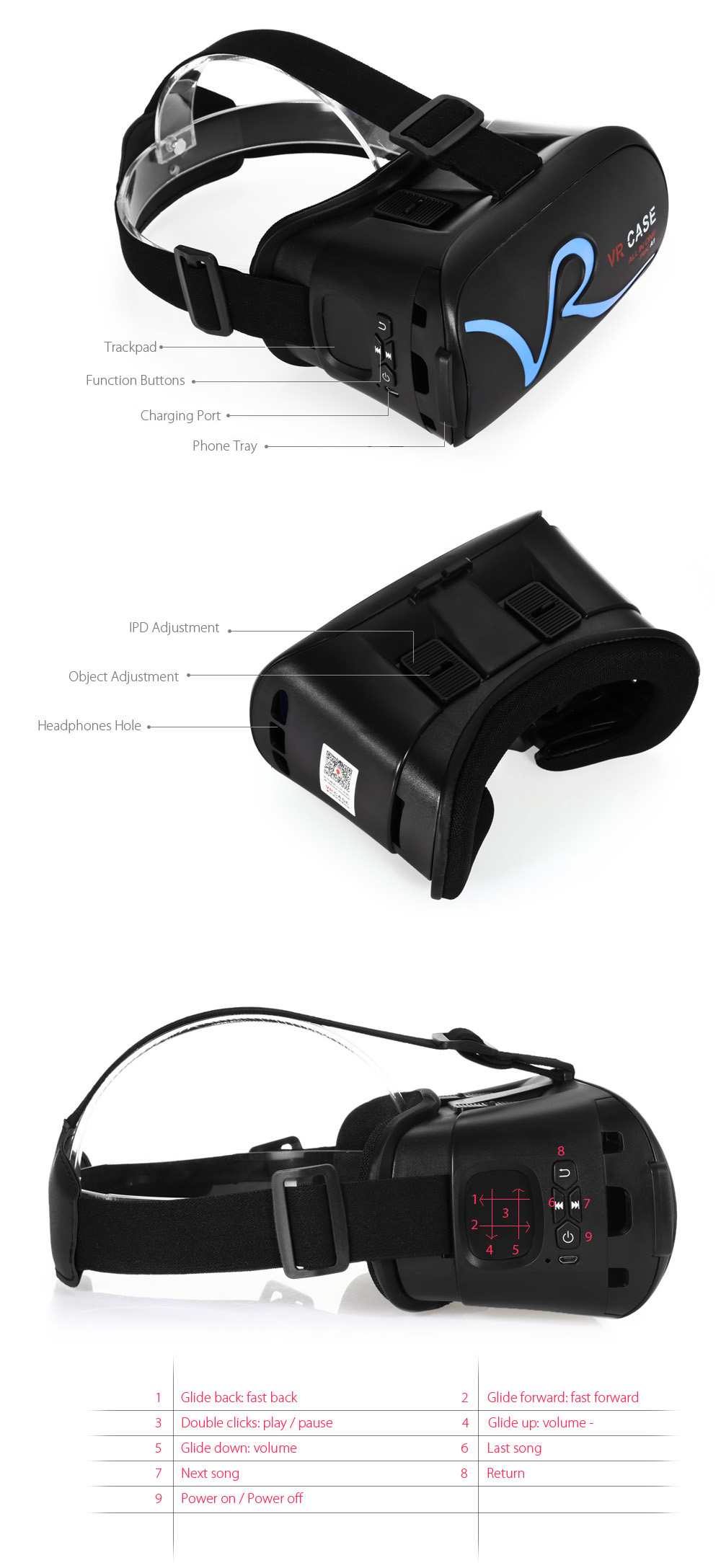 VR Case A1 Bluetooth 3D Glasses for 4.0 - 5.8 inch Smart Phones with Trackpad