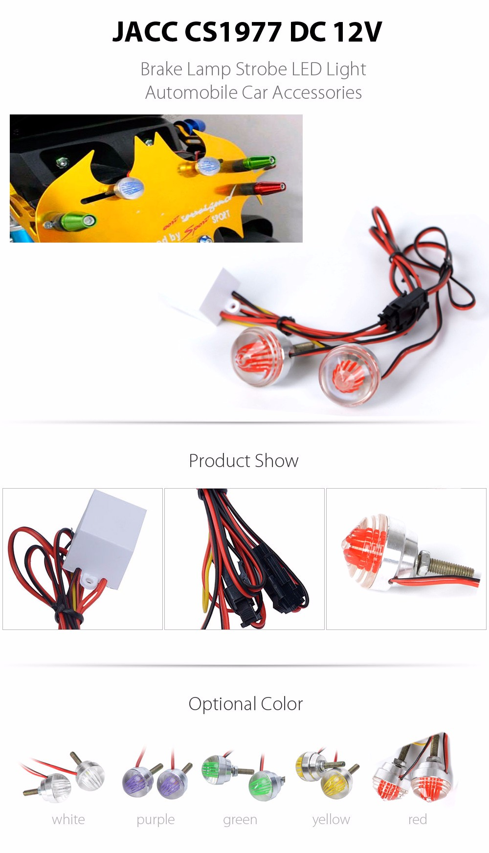 JACC CS1977 DC 12V LED Strobe Lamp Automobile Car Accessories