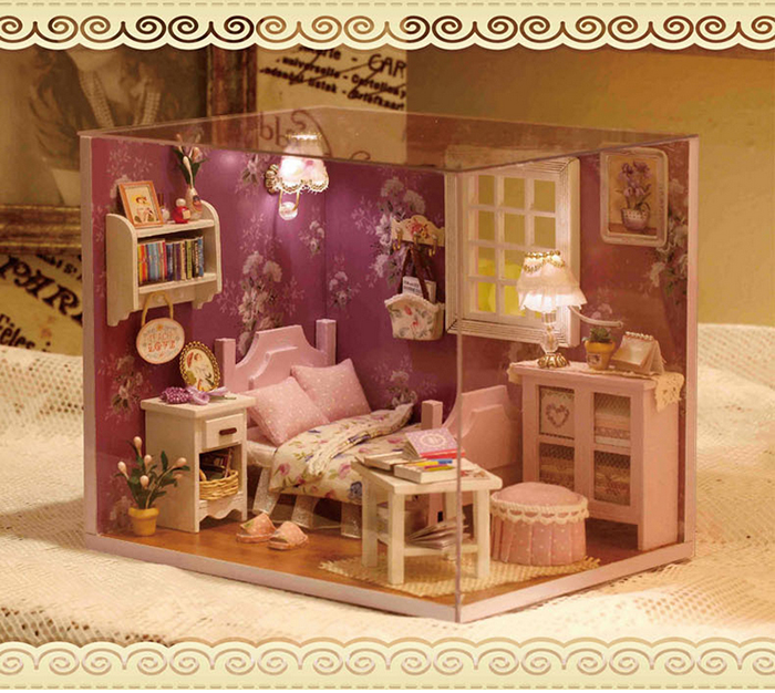 DIY Wooden House Miniature Kit with LED Light Furniture Handcraft Toy