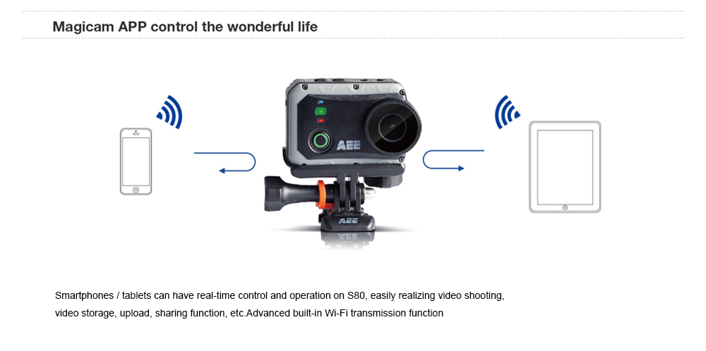 AEE S80 1080P WiFi Bluetooth Action Camera 2.0 inch TFT Screen 140 Degree FOV IP67 Waterproof