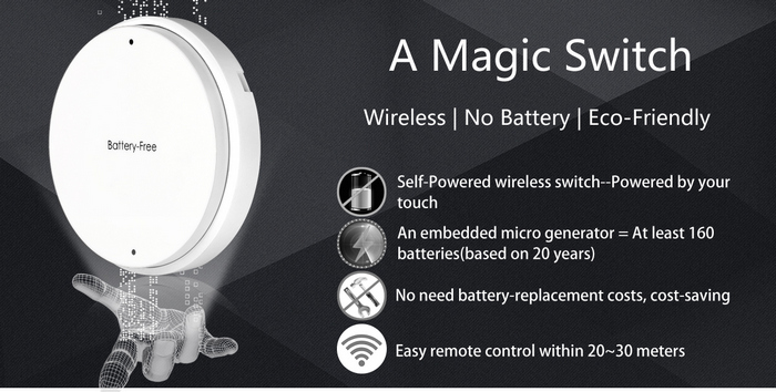 Battery - Free SIM1010 - K11 Wireless Light Switch One Key Operation