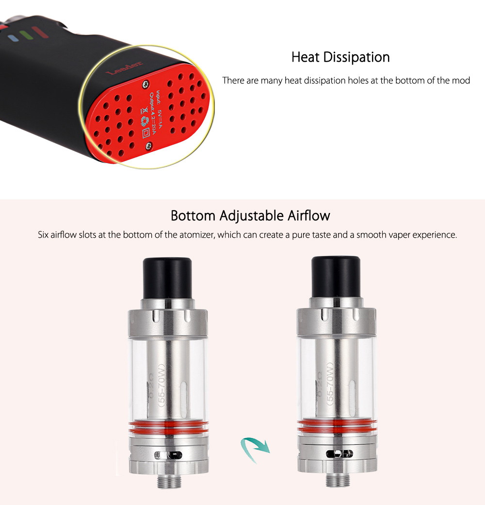 Original KVP SMOD LEADER Mod Kit with Built-in 2600mAh Battery / Heat Dissipation Design / 0.2 ohm Clearomizer for E Cigarette
