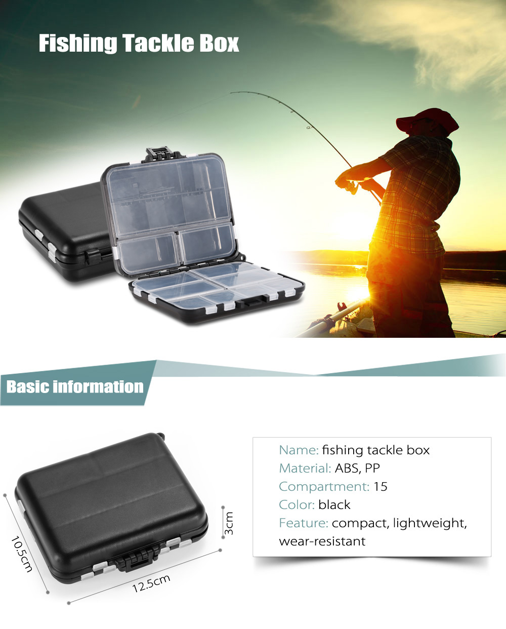ABS + PP Material Fishing Tackle Box Fish Lure Storage Case with 15 Compartments