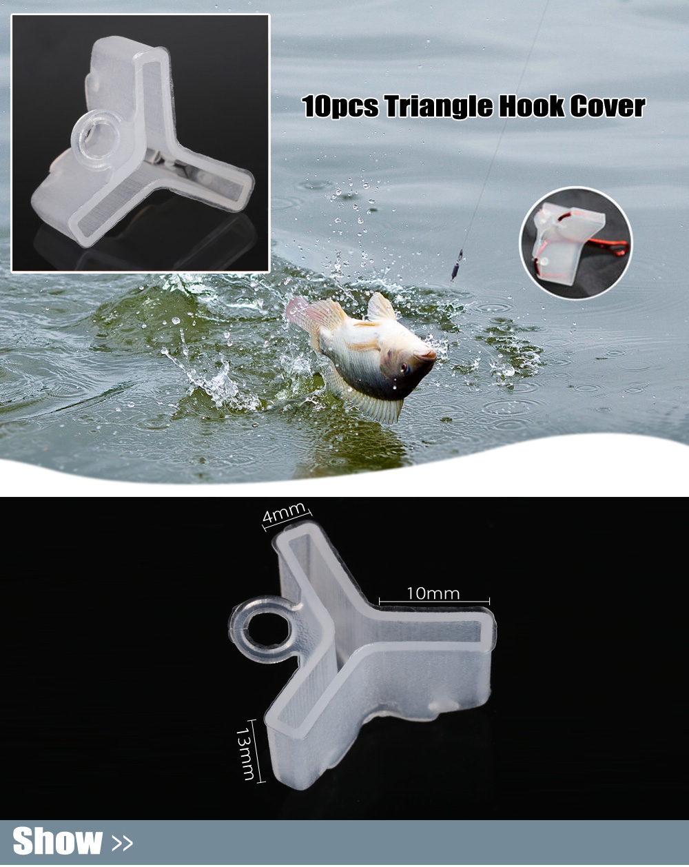 10pcs Fishing Triangle Hook Cover for No.4 / No.5 Fishhook