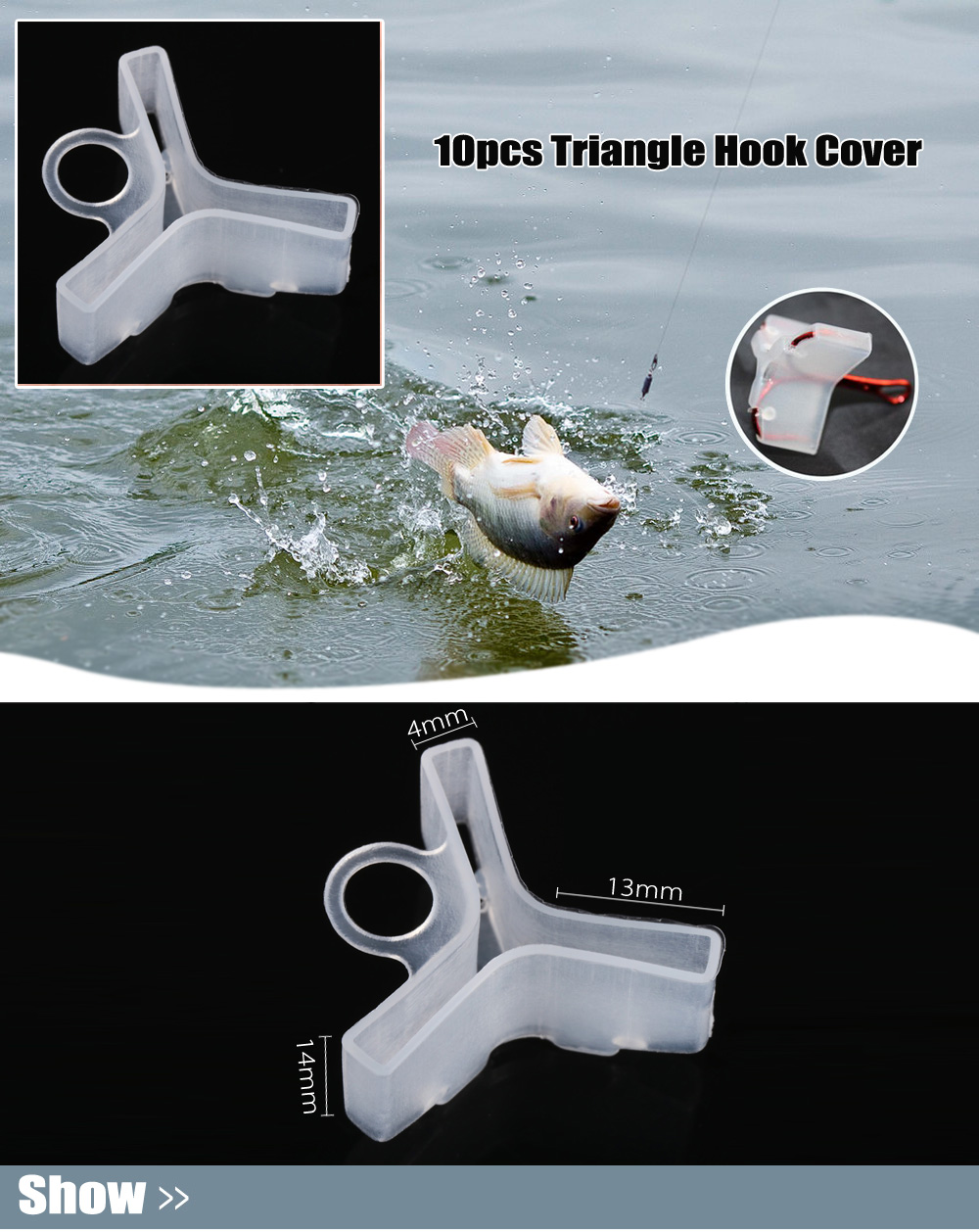 10pcs Fishing Triangle Hook Cover for No.1 / No.2 / No.3 Fishhook
