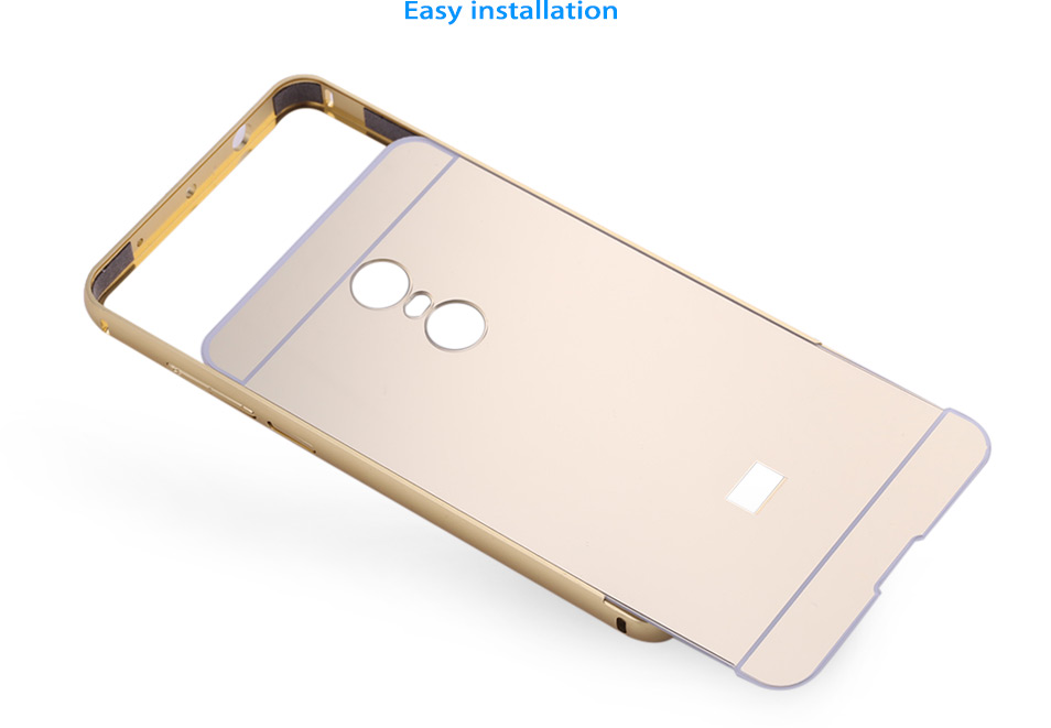 LeeHUR Electroplated Metal Frame Phone Back Case Tempered Glass Screen Protective Film for Xiaomi Redmi Note 4