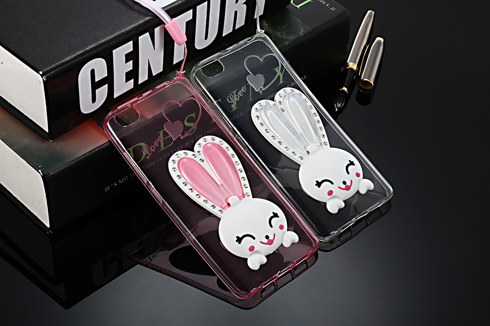 Cartoon Rabbit Pattern TPU Soft Phone Back Case for Xiaomi 5S Mobile Bracket Stand Protector