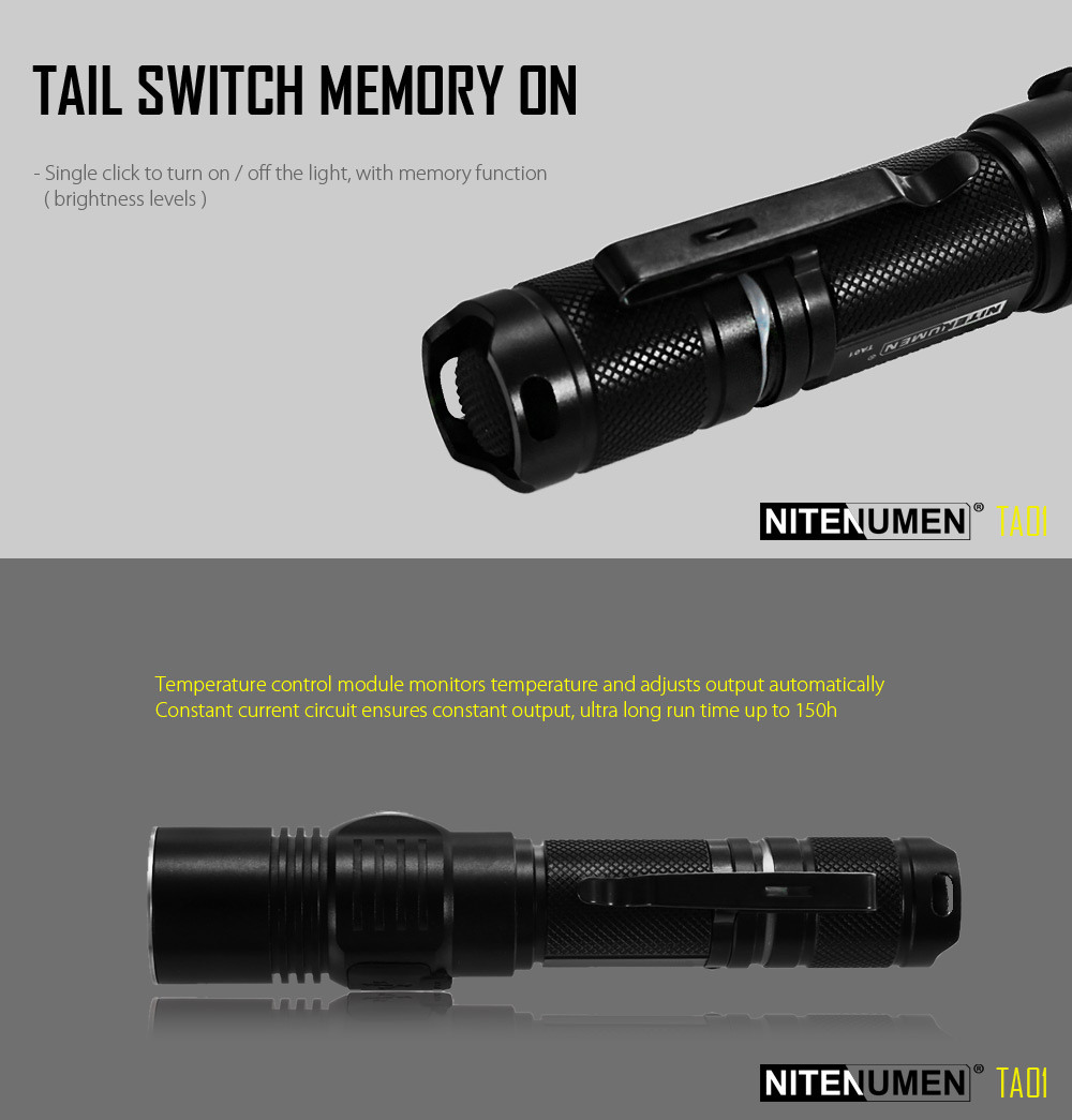 Nitenumen TA01 Cree XPL V5 1060Lm Rechargeable LED Flashlight Intelligent Temperature Control