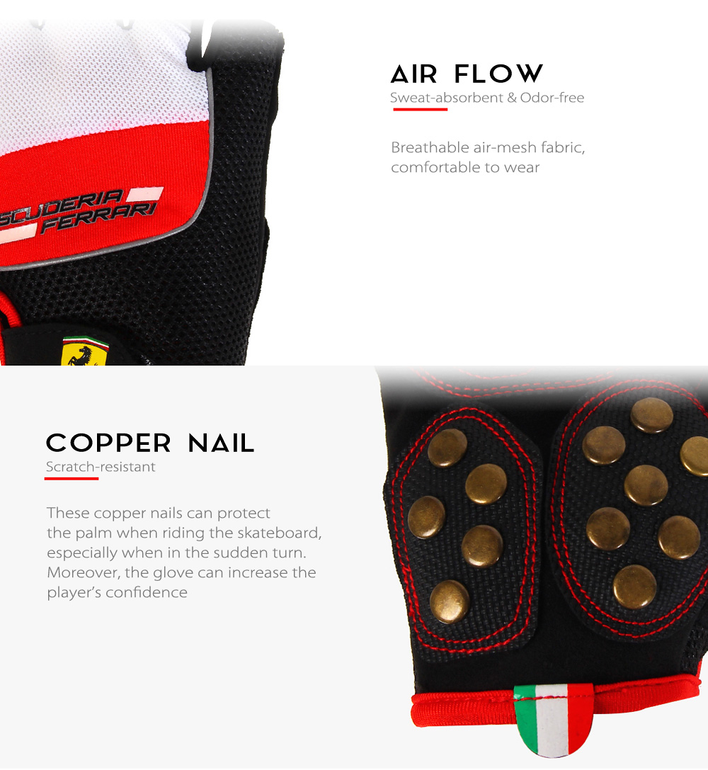 Ferrari FLKA56583 Breathable Anti-slip Skate Gloves