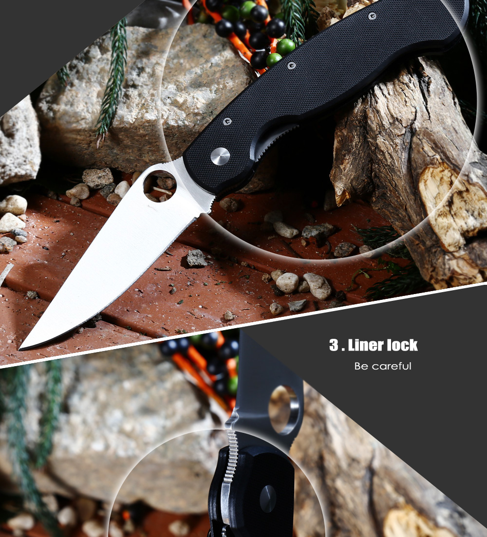 PA60 Liner Lock Folding Knife with G10 Handle / 7Cr17Mov Stainless Steel Blade