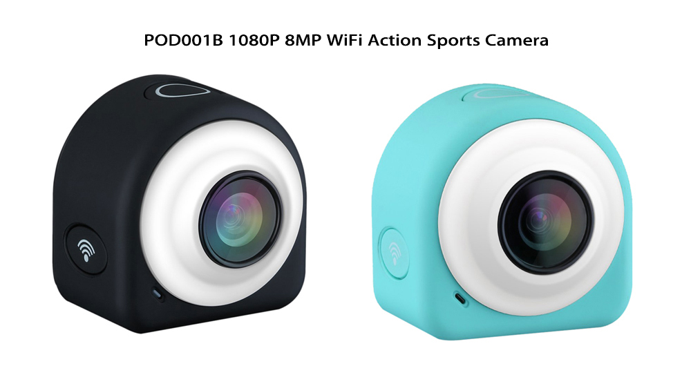 POD001B 1080P 8MP WiFi Action Sports Camera Loop Recording with 2.4G Remote Controller