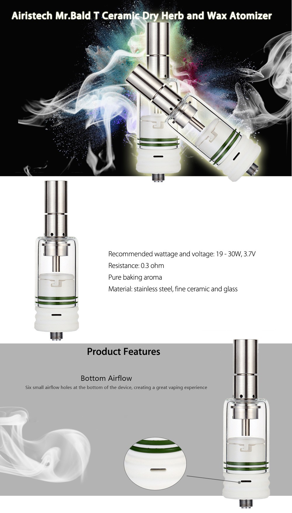 Original Airistech MrBald T Ceramic Dry Herb and Wax Atomizer with 0.3 ohm / 19 - 30W / 3.7V for E Cigarette