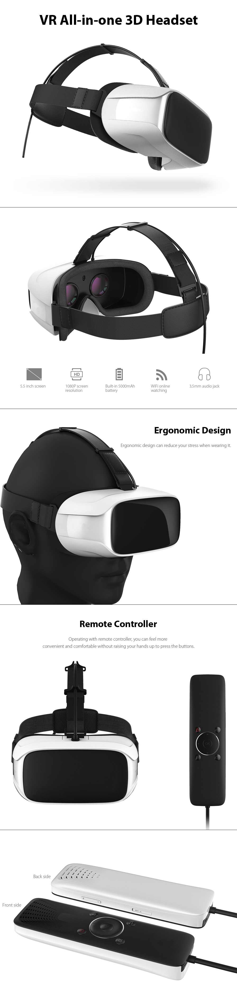 5.5 inch 1080P FHD VR All-in-one 3D Headset with INTEL CPU Remote Controller