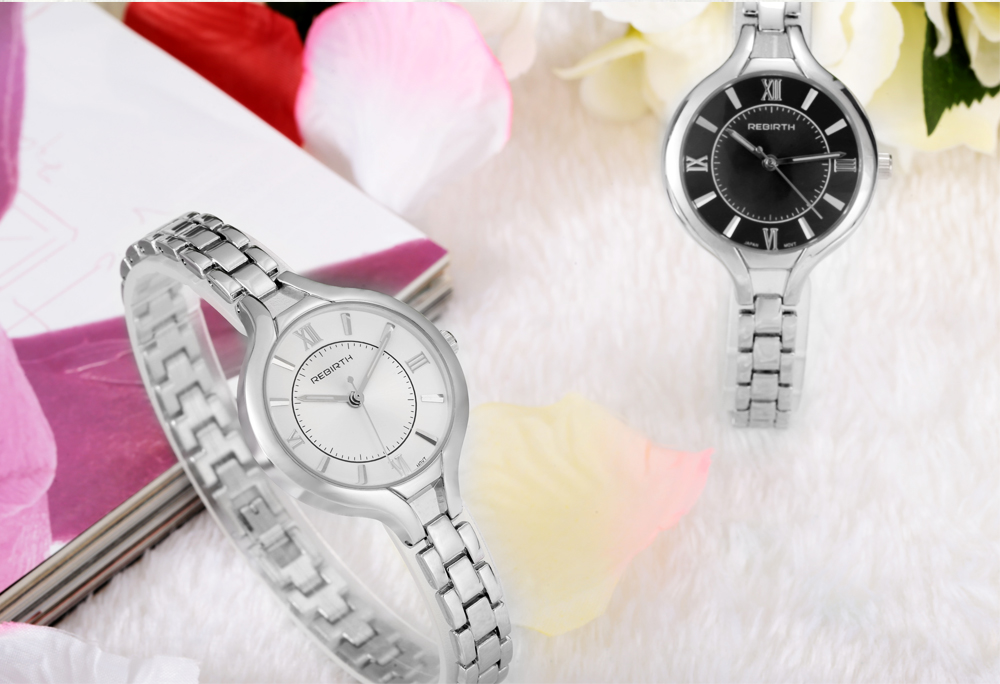 REBIRTH RE039 Fashion Women Quartz Watch with Nailed and Roman Number Scale
