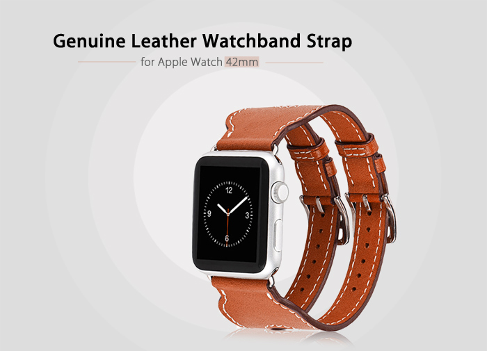 HOCO Genuine Leather Double Buckle Watchband Strap Wristband Replacement for Apple Watch 42mm