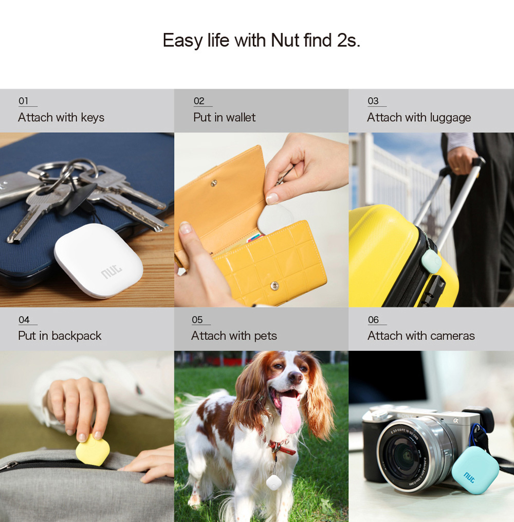 Nut 2S Wireless Bluetooth 4.0 Anti-lost Tracker Remainder Alarm System for iOS Android System