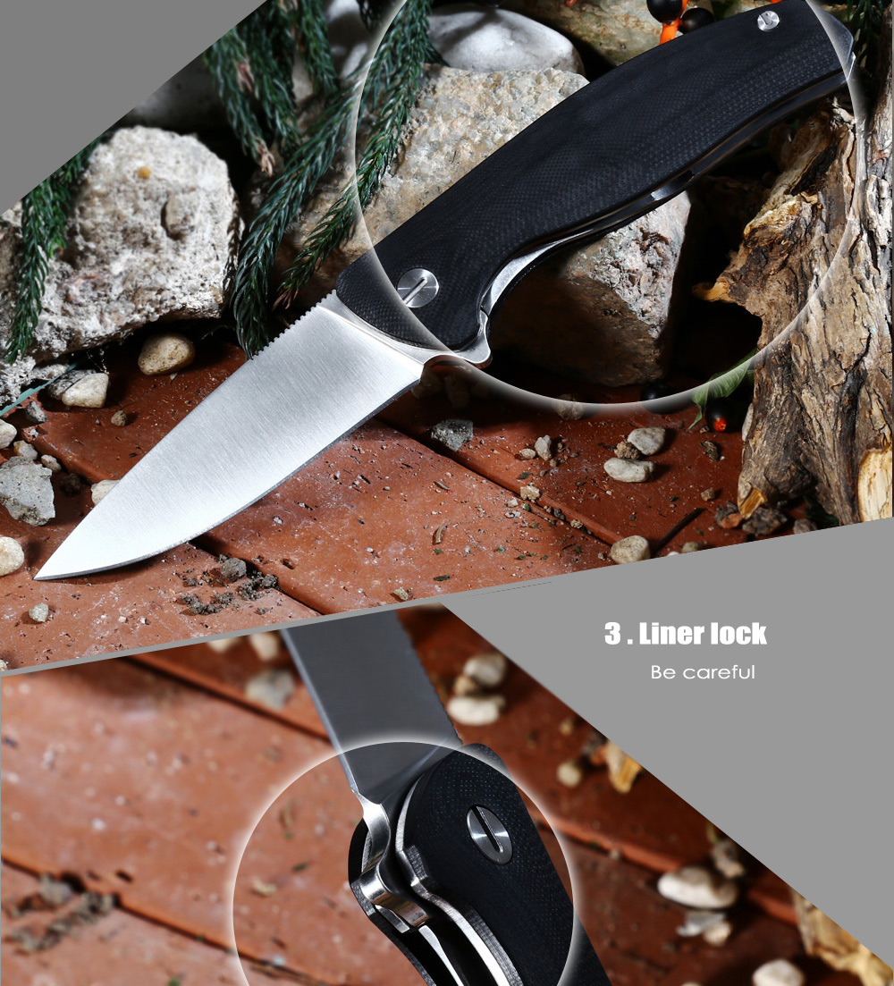 Portable Liner Lock Folding Knife with 7Cr17Mov Stainless Steel Blade