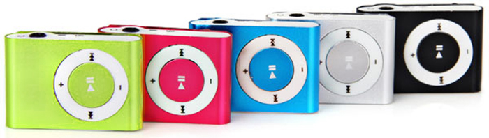 Portable Fashion Mini MP3 Player with 3.5mm Jack/Back Metal Clip/Micro SD Card Slot
