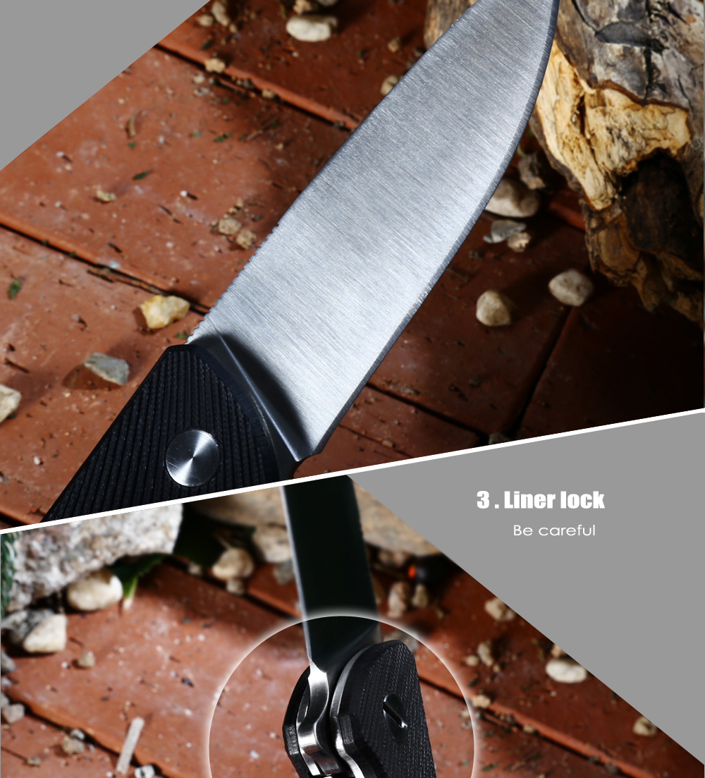 Liner Lock Folding Knife with 7Cr17Mov Stainless Steel Blade / G10 Handle