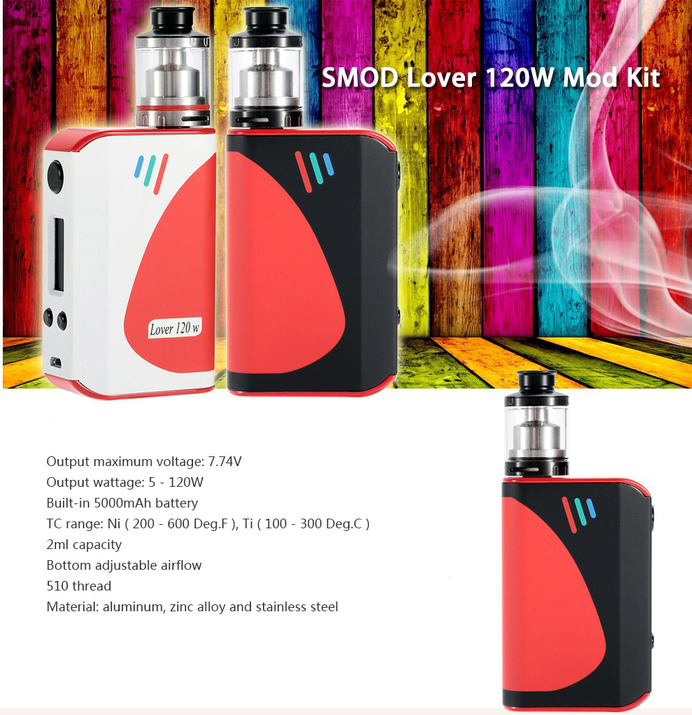 Original SMOD Lover 120W Mod Kit with Multiple Modes / Various Protections / 7.74V / Dual Posts RTA for E Cigarette