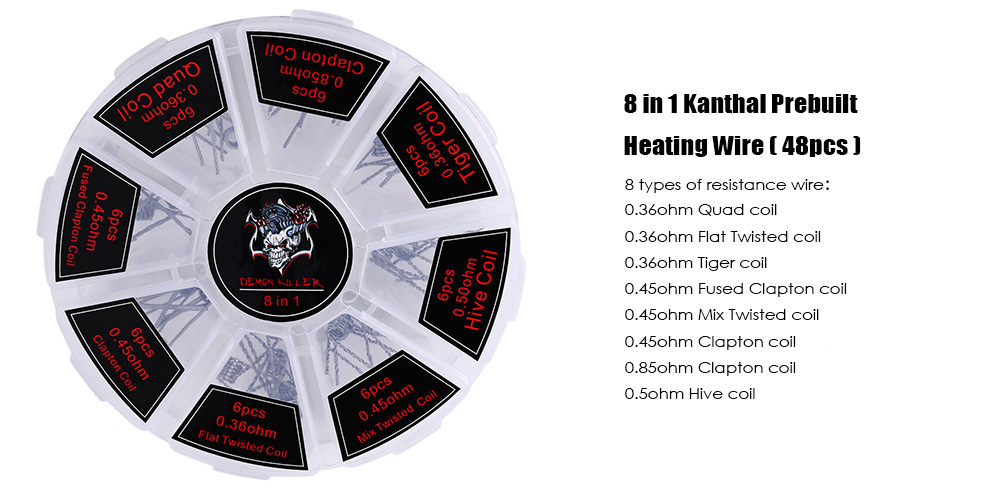48pcs 8 in 1 Kanthal Prebuilt Heating Wire with 0.85ohm / 0.36ohm / 0.45ohm / 0.5ohm E Cigarette Accessory ( 6pcs / Type )
