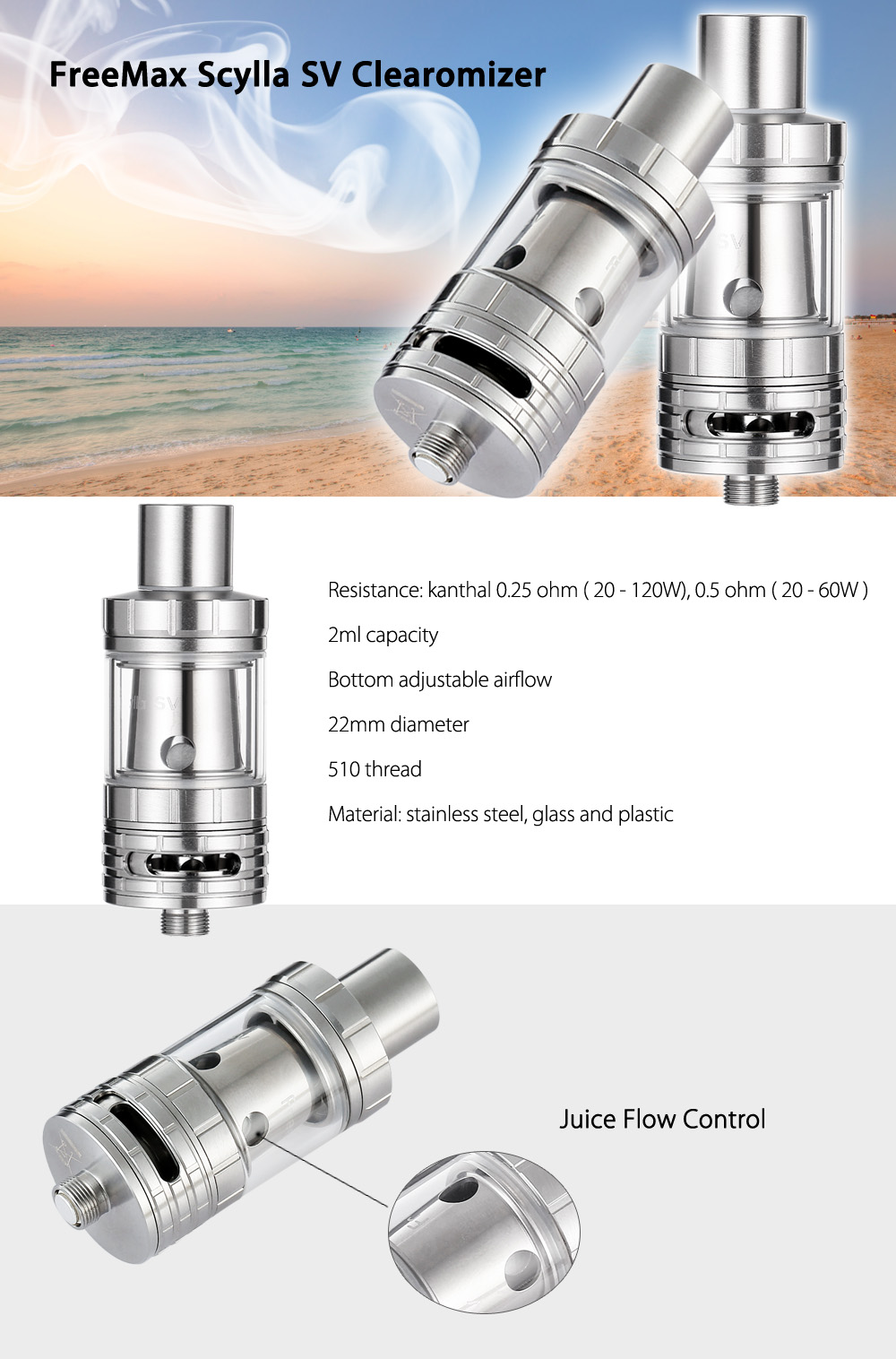 Original FreeMax Scylla SV Clearomizer with 0.25 ohm / 0.5 ohm / Bottom Adjustable Airflow  / 2ml Capacity for E Cigarette