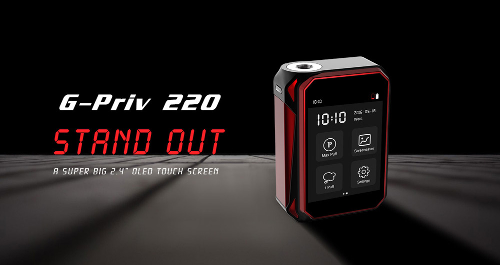 Original Smok G - PRIV 220 220W TC Box Mod with 200 - 600F / 100 - 315C / Subohm 0.06 ohm for E Cigarette