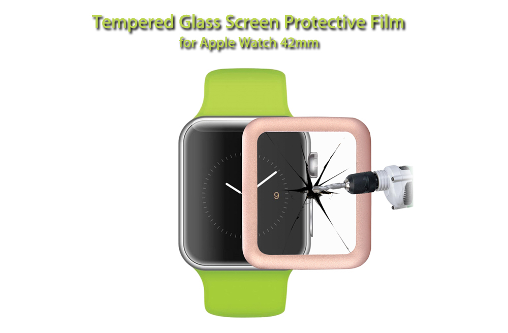 Link Dream Full Cover Metal Frame Tempered Glass Screen Protective Film for Apple Watch 42mm
